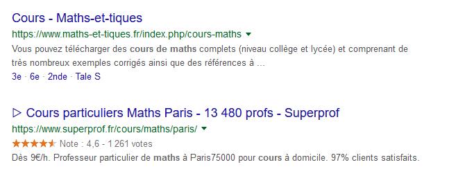 Exemple de recherche Google